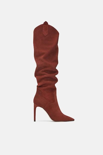 Zara Soft Leather High Heeled Boots