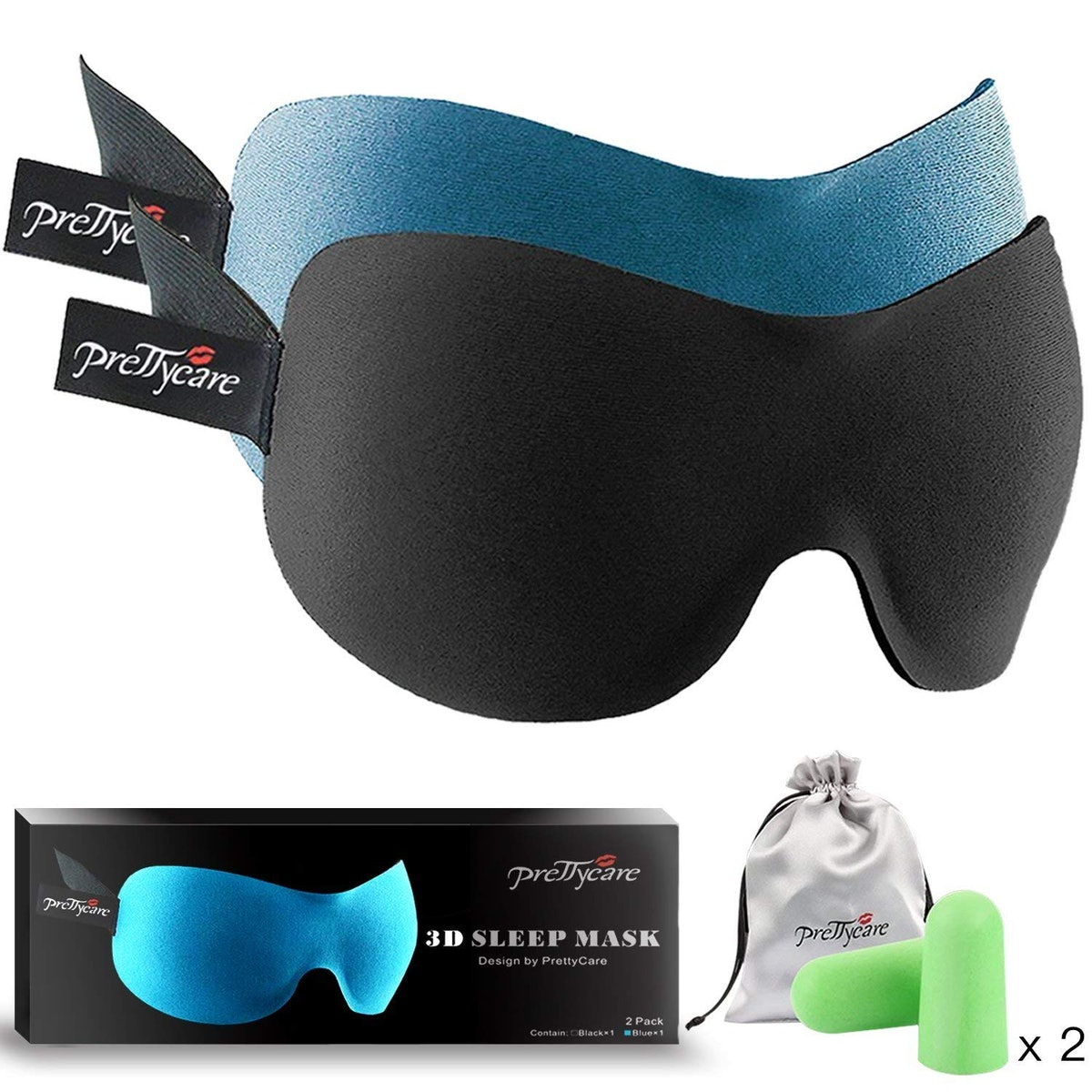 PrettyCare 3D Sleep Mask (2 Pack)