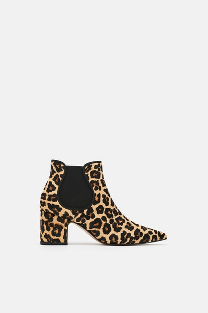 Zara Printed Leather High-Heel Ankle Boots
