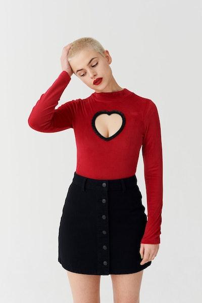 Heart Cut Out Velvet Bodysuit
