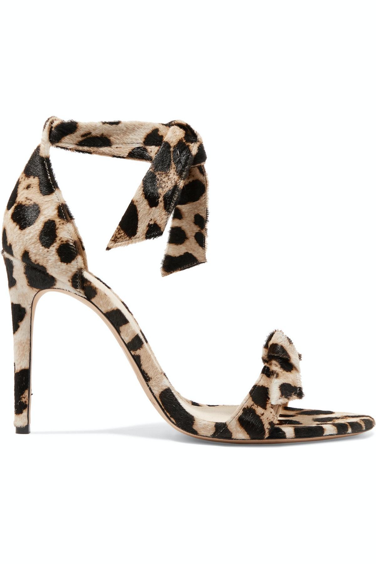 Clarita Bow-Embellished Leopard-Print Calf Hair Sandals