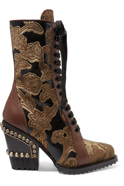 Chloé Rylee Studded Brocade and Appliqued Leather Ankle Boots