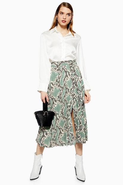 Python Pleated Midi Skirt