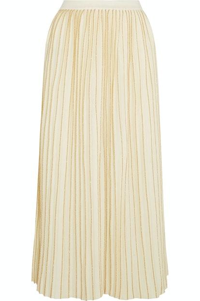 Metallic Pleated Wool-Blend Midi Skirt