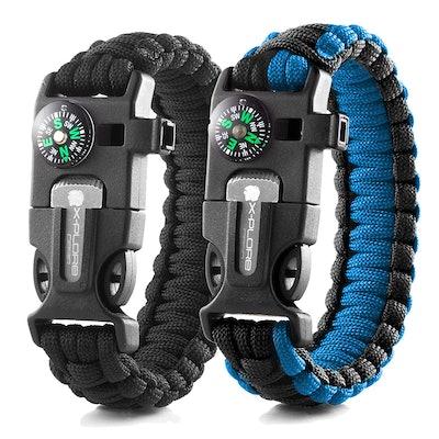 X-Plore Gear Emergency Paracord Bracelets (Set of 2)