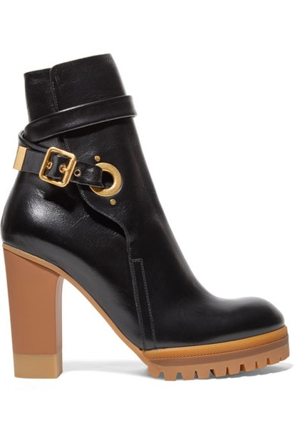 Chloé Suzey Glossed-Leather Platform Ankle Boots