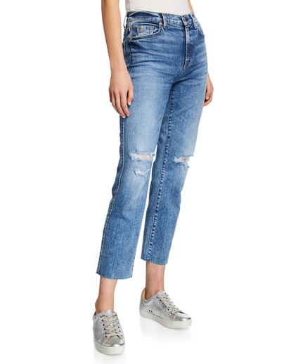 Edie Ripped High-Rise Cropped Jeans