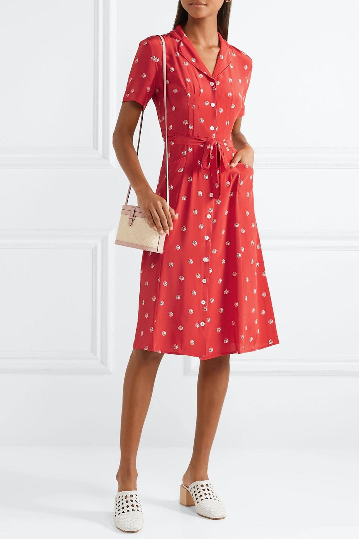 Maria Printed Silk Crepe De Chine Midi Dress