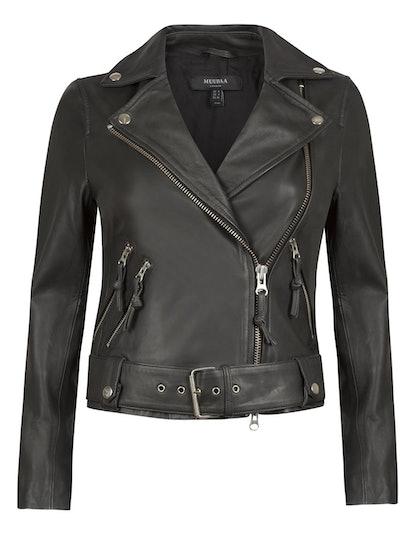 Manning Black Leather Biker Jacket