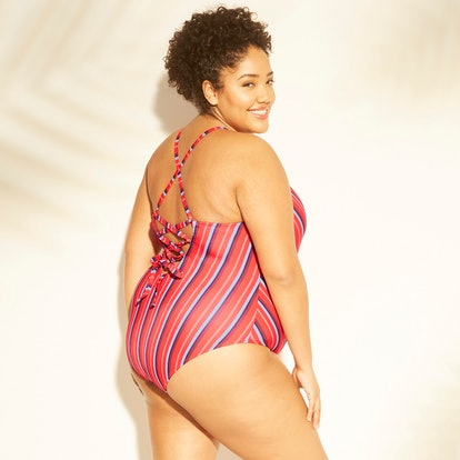 Women's Plus Size Lace Up Back One Piece Swimsuit - Kona Sol
