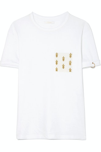 Chloé International Women's Day Embroidered Cotton-Jersey T-Shirt