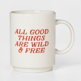 16oz Porcelain All Good Things Are Wild And Free Mug White/Red - Room Essentials