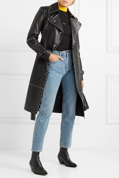 Studded Leather Trench Coat