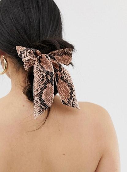 My Accessories London Snake Print Tie Scrunchie