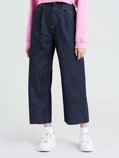Ribcage Pleated Cropped Jeans in Motown Philly