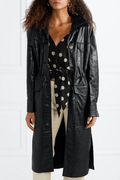Gus Croc-Effect Vegan Leather Coat
