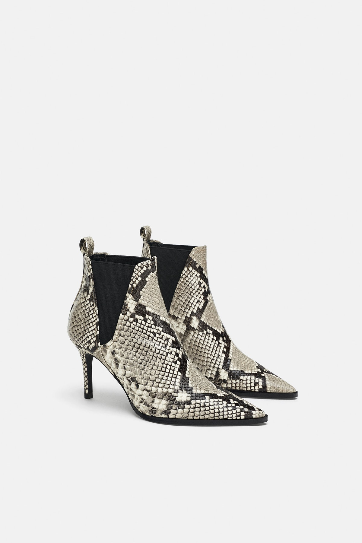 Snakeskin Print Heeled Leather Ankle Boot
