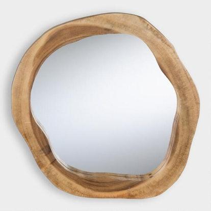 Round Natural Live Edge Teak Wood Mirror