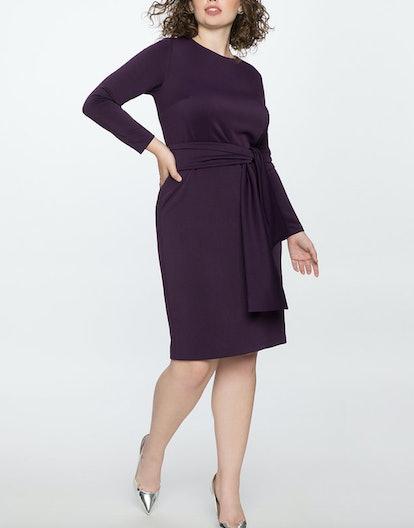Long Sleeve Scuba Dress with Tie