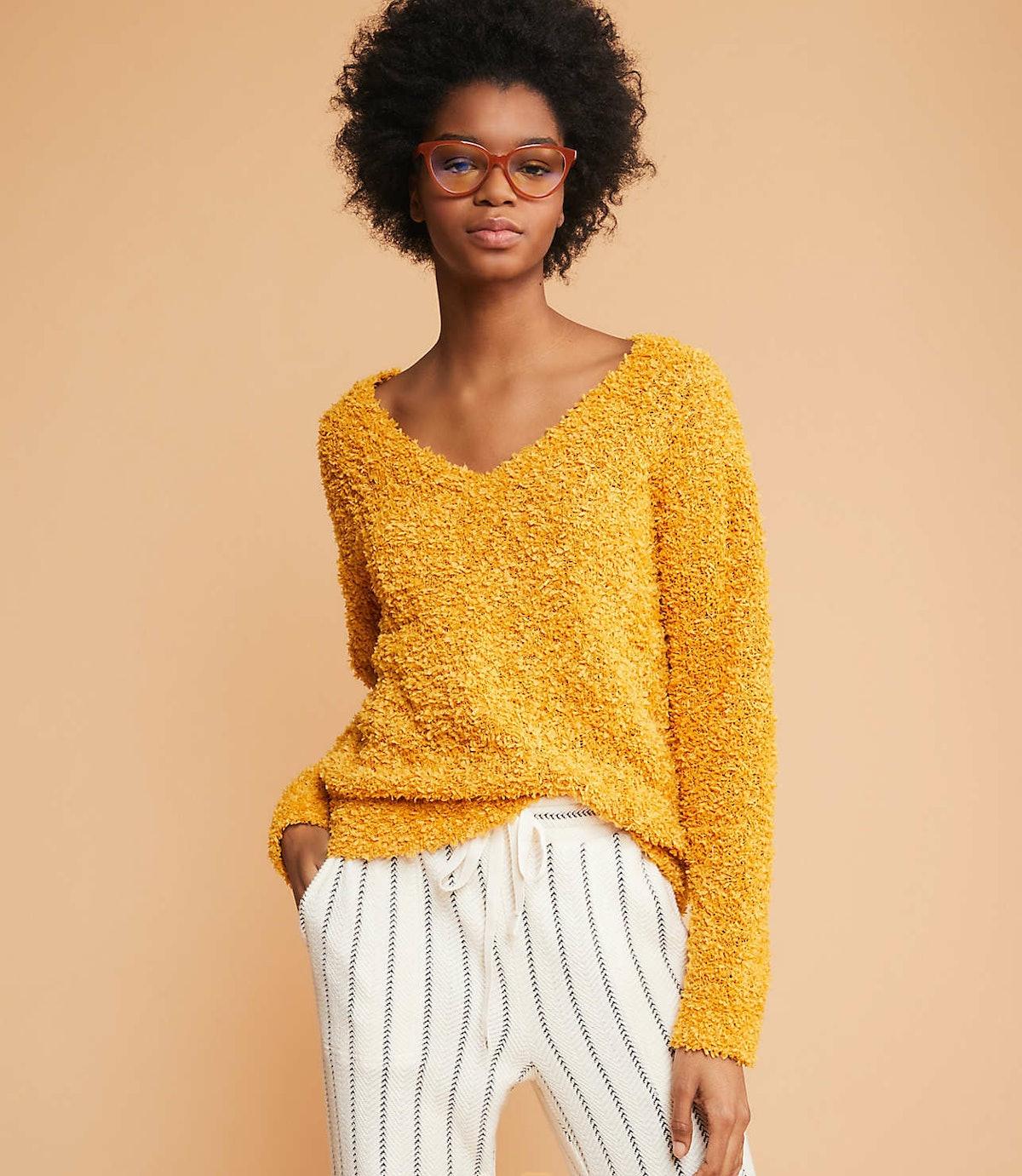 Fringeknit V-Neck Sweater