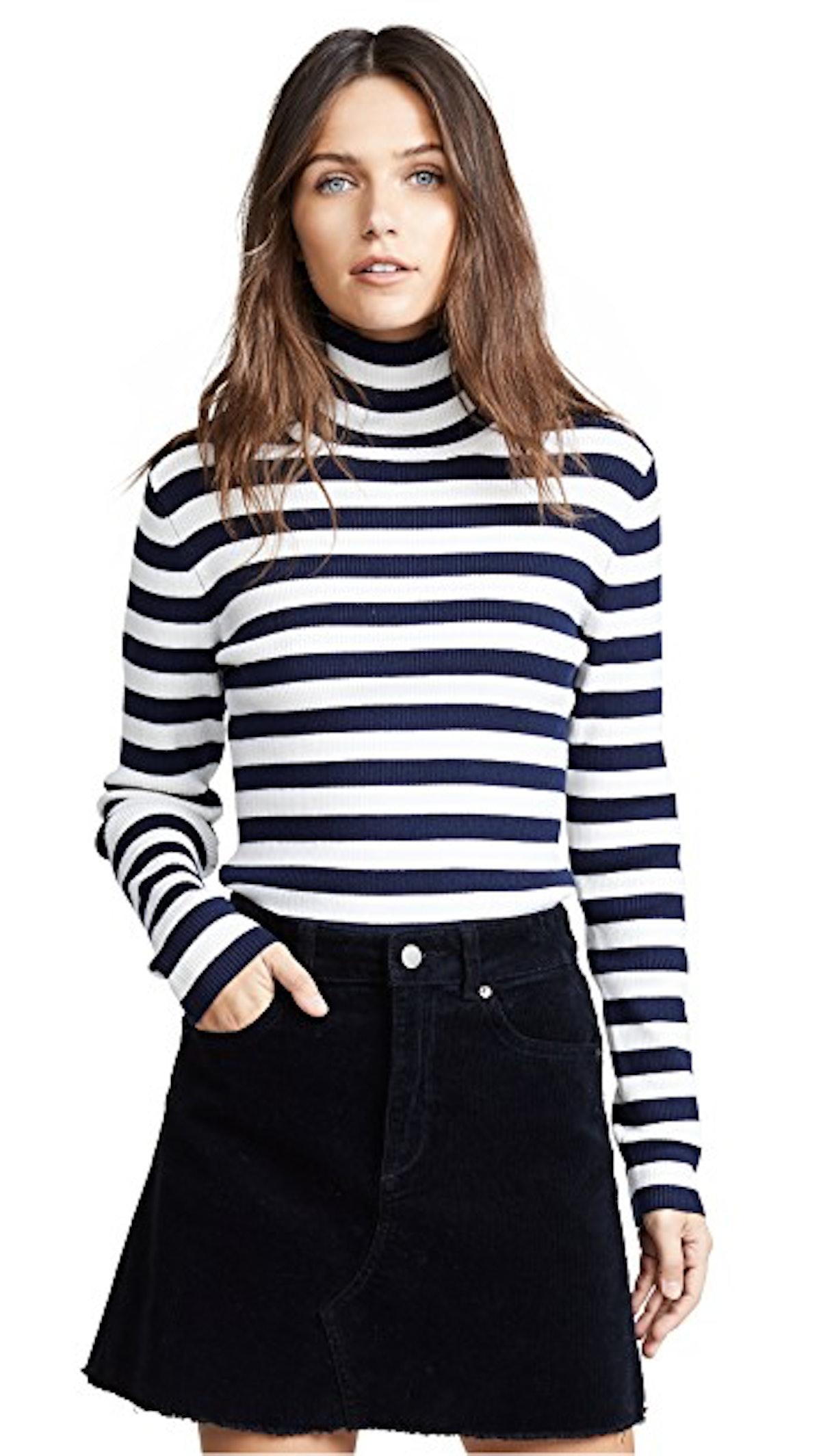 Striped Ribbed Merino Turtleneck Sweater