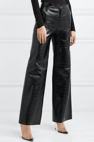 Croc-Effect Leather Wide-Leg Pants