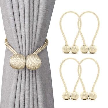 DEZENE Magnetic Curtain Tiebacks (4 Packs)