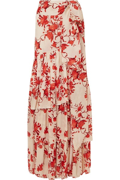 Tiered Floral Maxi Skirt