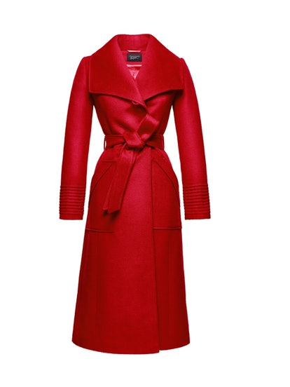 Long Wide Collar Wrap Coat, Red