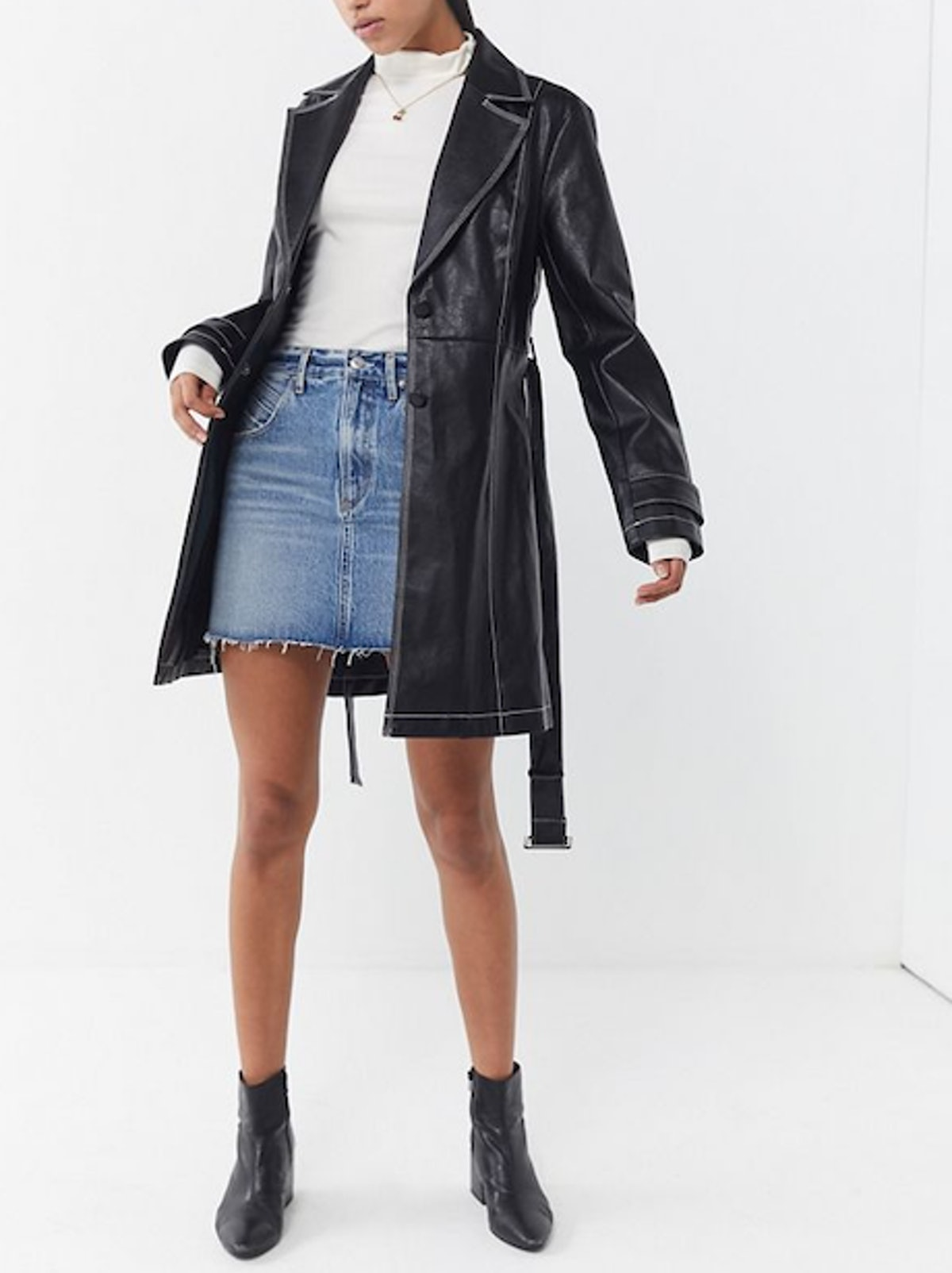 Irina Faux Leather Trench Coat