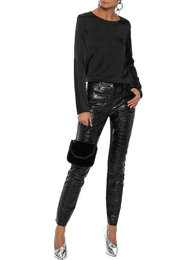 Jersey-Paneled Croc-Effect Leather Skinny Pants