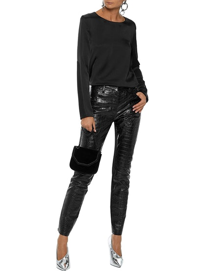 Jersey-Paneled Croc-Effect Leather Skinny Pants
