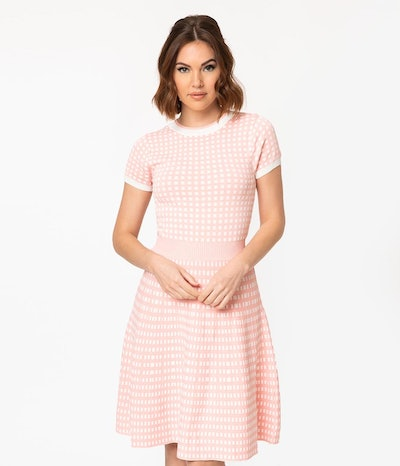 Retro Style Pink & White Gingham Fit & Flare Sweater Dress