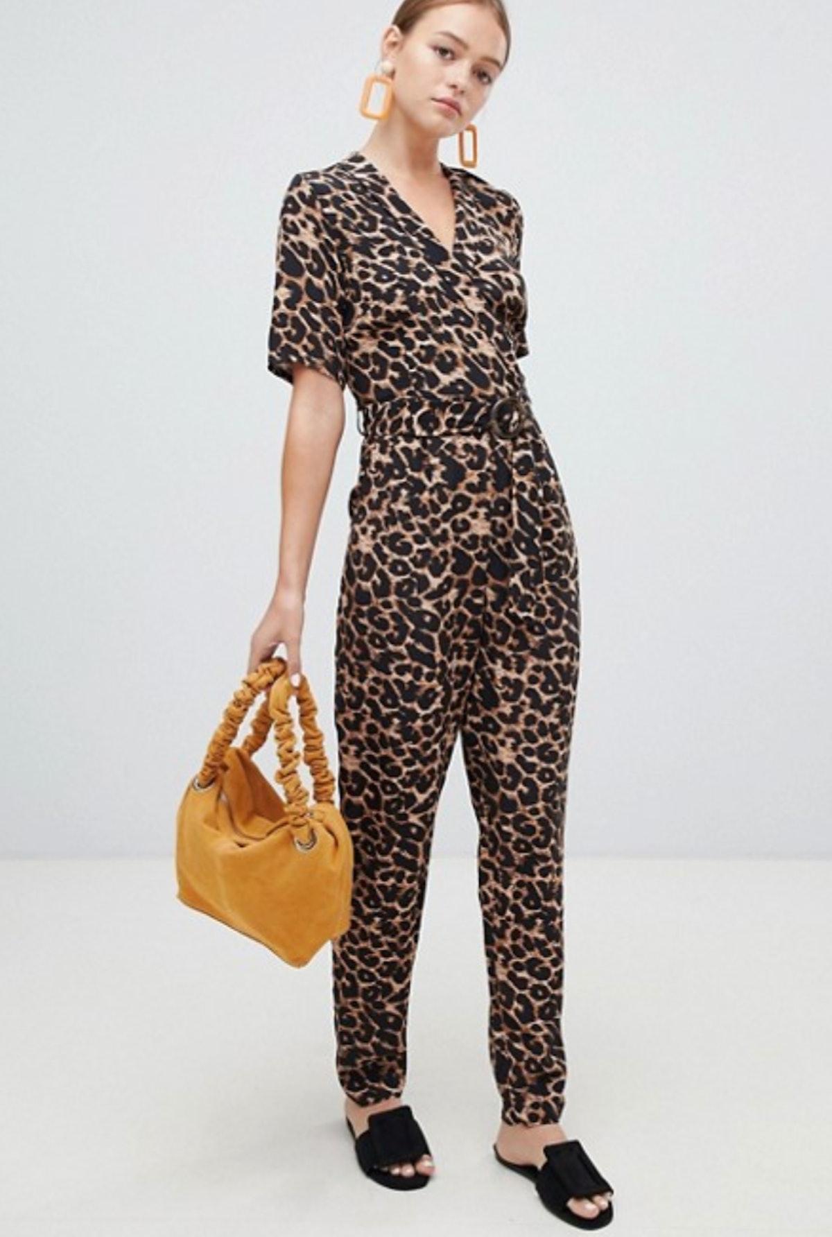 New Look Leopard Wrap Jumpsuit