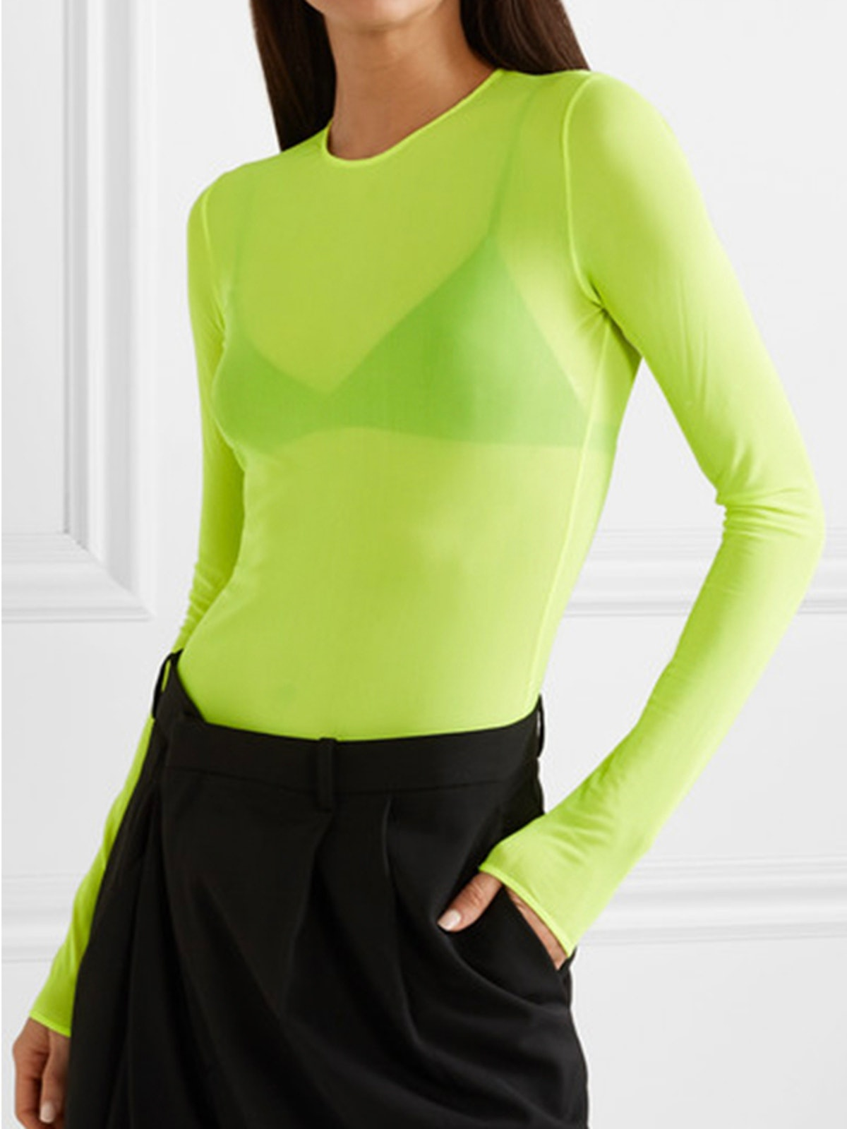 Neon Stretch-Mesh Bodysuit