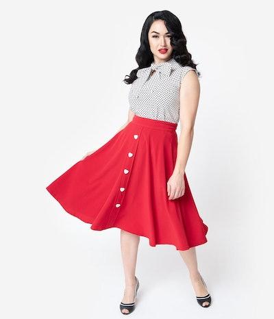 Steady Red & White Button Be Still My Heart High Waisted Thrills Skirt