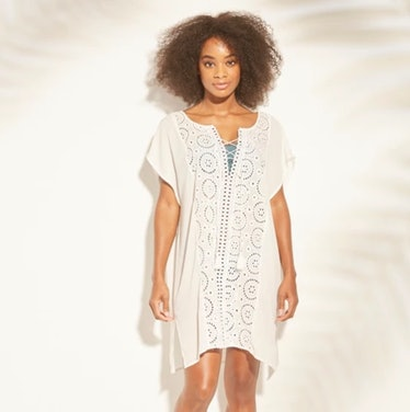 Lace-Up Eyelet Cover Up Dress