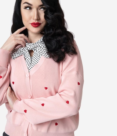 Light Pink & Red Embroidered Heart Long Sleeved Knit Cardigan