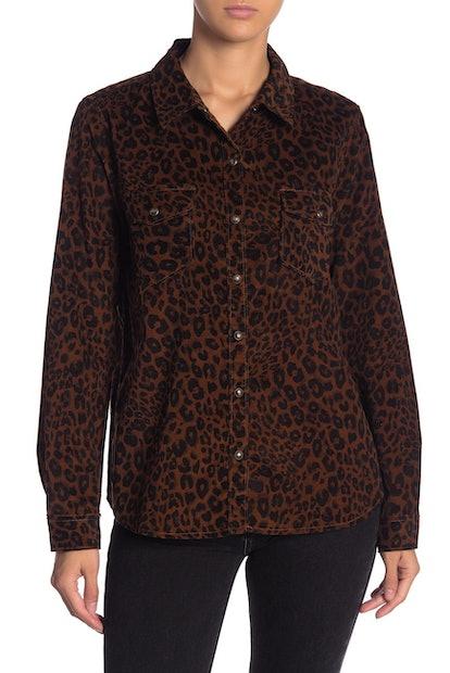Sanctuary Leopard Print Corduroy Shirt