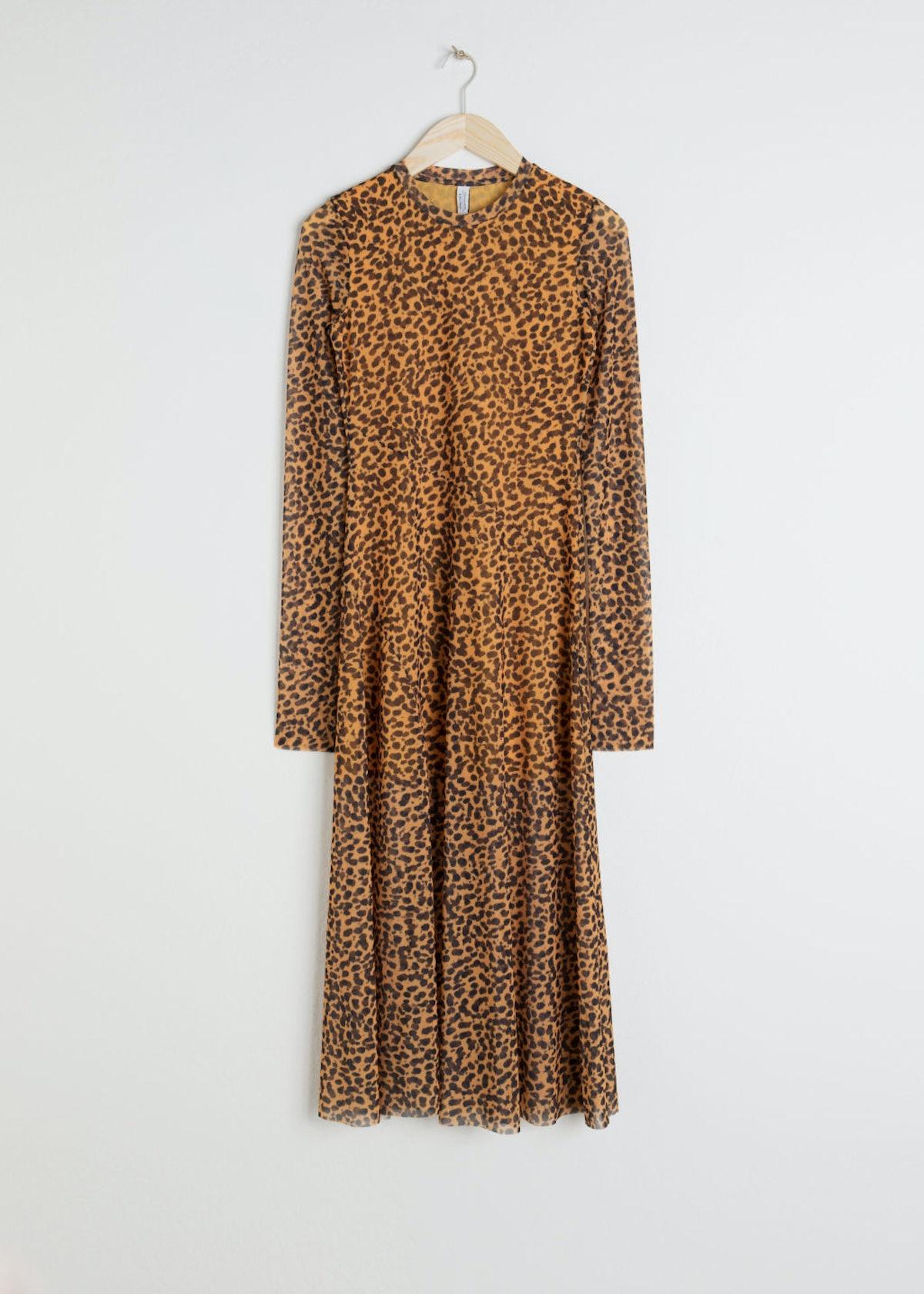 Sheer Leopard Midi Dress