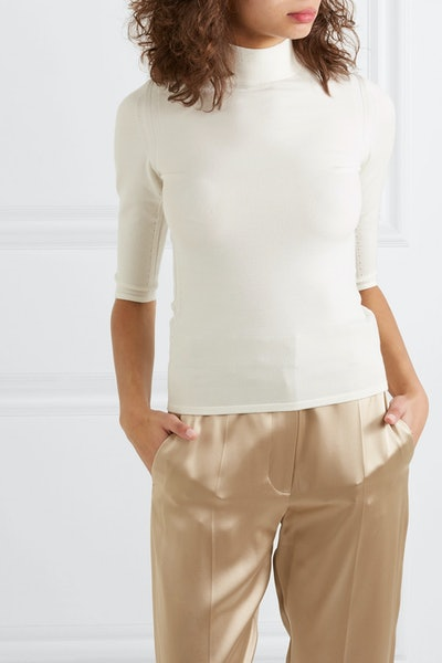 Ribbed Merino Wool Turtleneck Top
