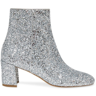 Glitter 65mm Ankle Boot in Silver