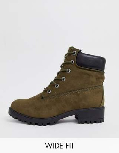 New Look wide fit lace up flat hiker boot in dark khaki