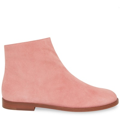 Shearling Flat Ankle Boot in Blush