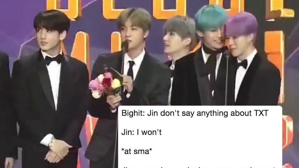 This Video Of BTS' Jin Giving TXT A Shoutout At The SMAs Radiates
