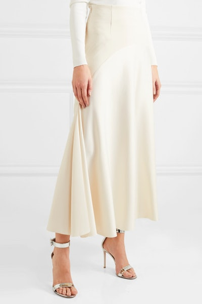 Praia Paneled Crepe And Satin Midi Skirt