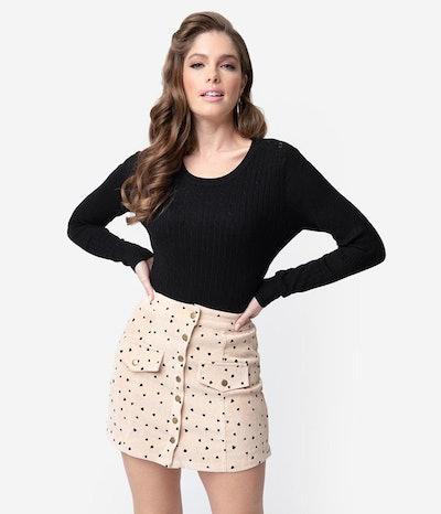 Beige & Black Polka Dot Heart Button Corduroy Mini Skirt