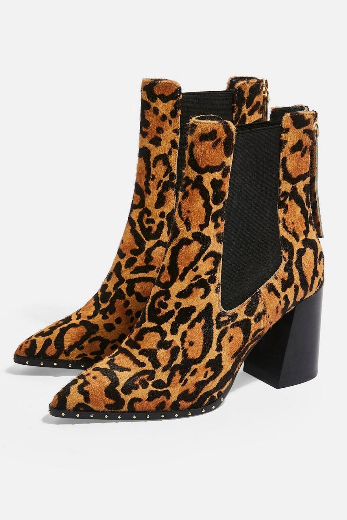 HARRISON Leopard High Heel Ankle Boots