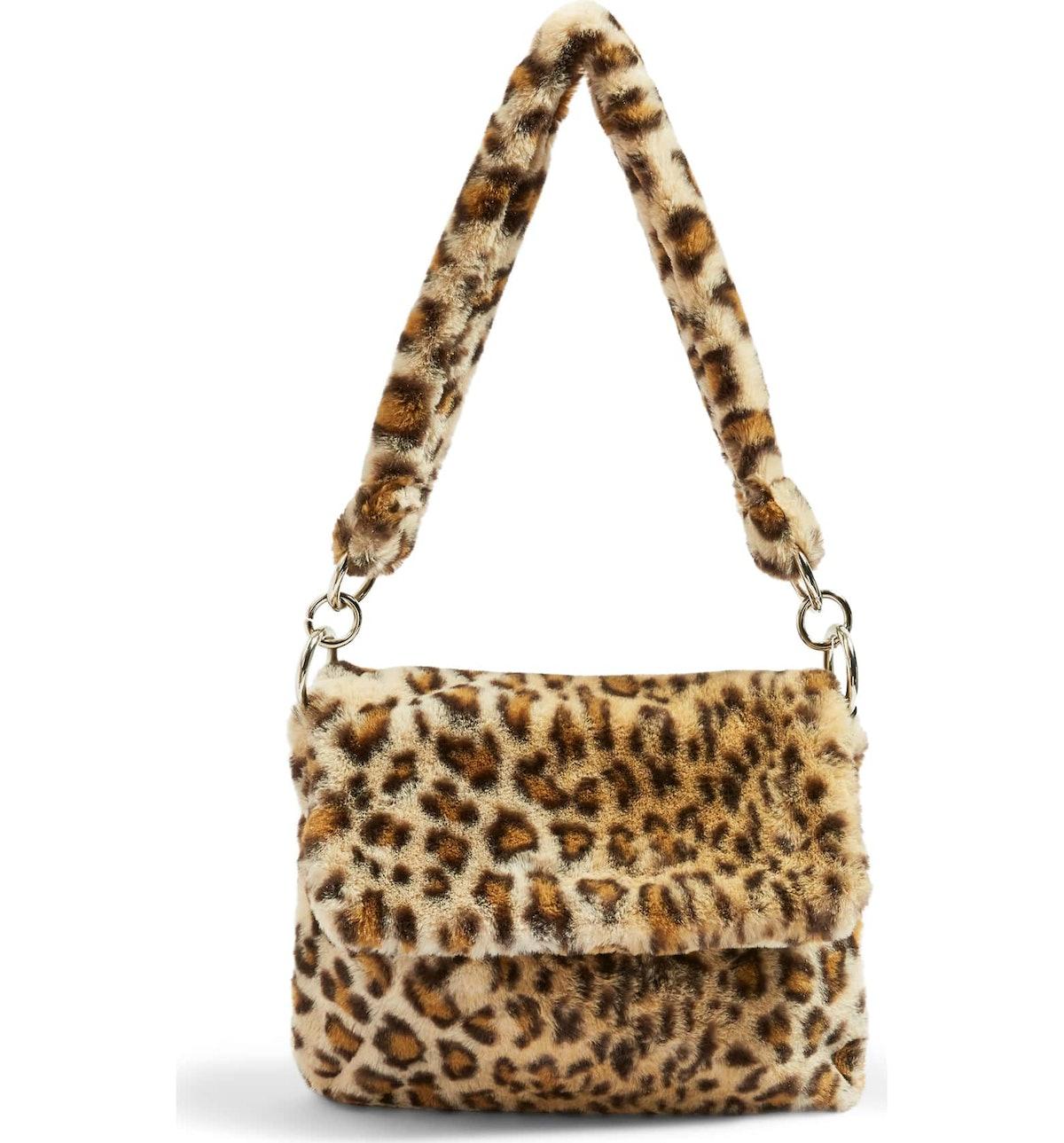 Teddy Leopard Print Faux Fur Shoulder Bag