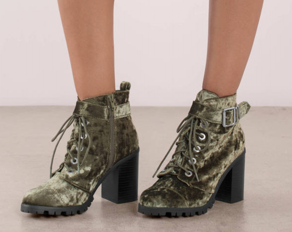 Sorrento Crushed Velvet Lace Up Ankle Boots